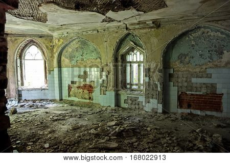 Ruined interior of an abandoned mansion of Khvostov in gothic style, Lipetsk region