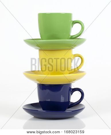 Color cups on white background. Set.