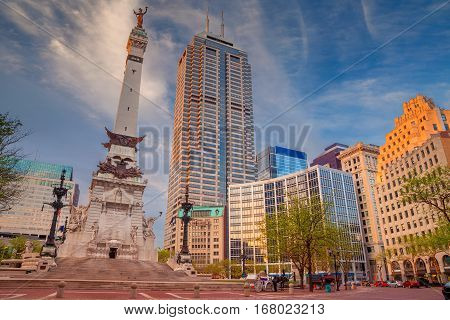 Indianapolis. Cityscape image of downtown Indianapolis, Indiana during sunset.