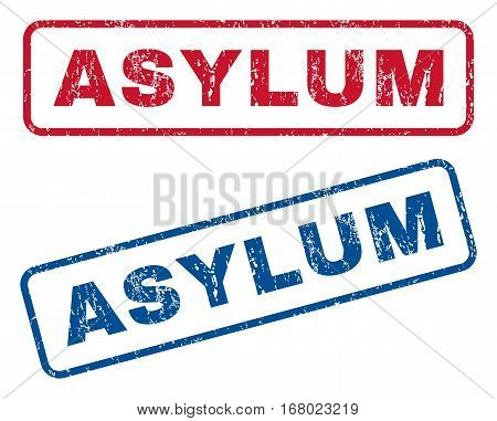 Asylum text rubber seal stamp watermarks. Vector style is blue and red ink caption inside rounded rectangular banner. Grunge design and dust texture. Blue and red signs.