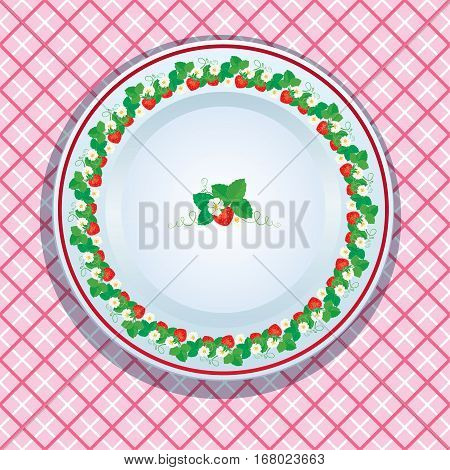 White plate decoration with strawberries leaves and flowers on pink checkered background. Fruit frame.