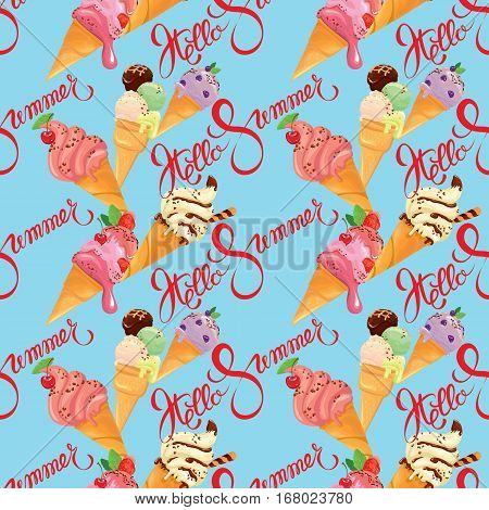 Seamless pattern with Ice cream cones with glaze Chocolate strawberry blueberry and cherry on blue background. Calligraphic handwritten text Hello Summer. Seasonal design.