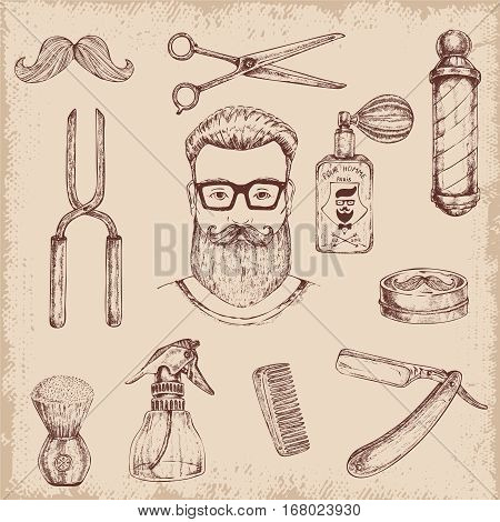 Hand drawn barber hipster character head and elements set with various professional shaving haircutting tools images vector illustration