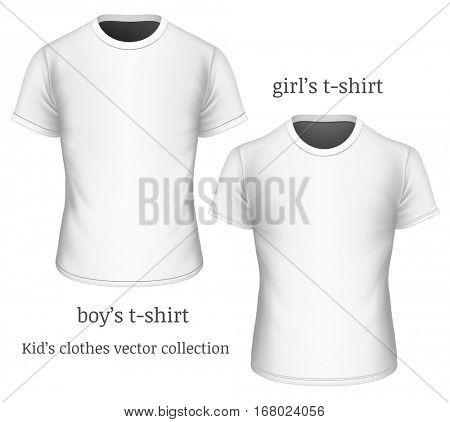 T-shirt for girls and t-shirt for boys. Short-sleeved girl's and boy's  t-shirt. Fully editable handmade mesh. Vector illustration.