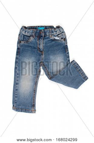 children jeans trousers isolated on a white background