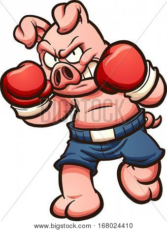 Cartoon boxer pig. Vector clip art illustration with simple gradients. All in a single layer.
