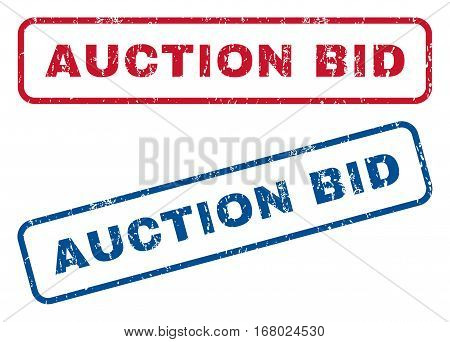 Auction Bid text rubber seal stamp watermarks. Vector style is blue and red ink tag inside rounded rectangular banner. Grunge design and dust texture. Blue and red signs.