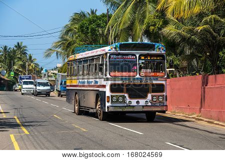 Mirissa, Sri Lanka - January 07, 2017: Regular Public Bus. Buses Are The Most Widespread Public Tran