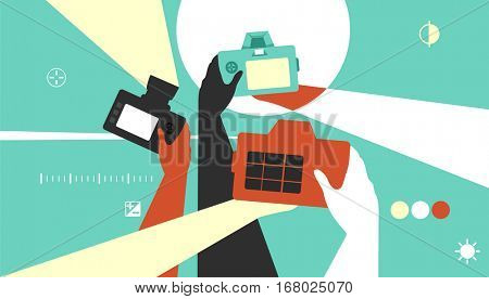 Colorful Illustration Featuring Photographers Taking Pictures with DSLR Cameras