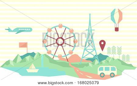 Colorful Geometric Illustration Featuring Attractions Popular to Travelers