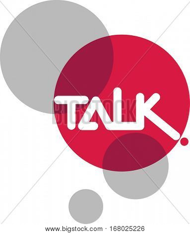 Typography Illustration Featuring the Word Talk Written on a Red Circle