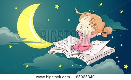 Whimsical Illustration of  a Cute Little Girl Sitting on a Book Stretching Her Arms in Sleepiness