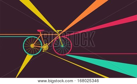 Conceptual Illustration of a Bicycle with Colorful Streaks of Light as its Background