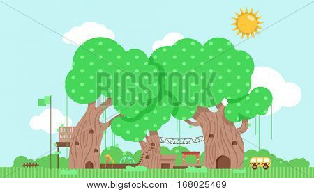 Cutesy Illustration Featuring a Preschool Built Around a Group of Trees