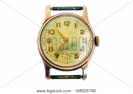 Vintage mechanical wrist watch gold-plated, isolated on white background