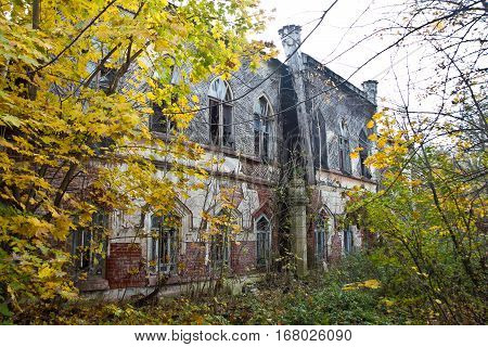Ruined and abandoned mansion of Khvostov in gothic style, Lipetsk region