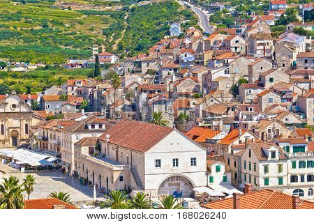 Old Island Town Of Hvar Rooftops View