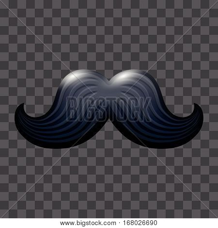 Black glossy mustache. Vector icon suitable for any color backgrounds. Cartoon male fashion hairstyle element
