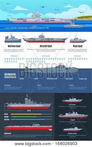 Military fleet infographics with different types of battle ships and characteristics of navy boats vector illustration