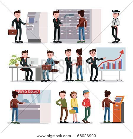 Bank people set with customers clients and staff in different situations isolated vector illustration