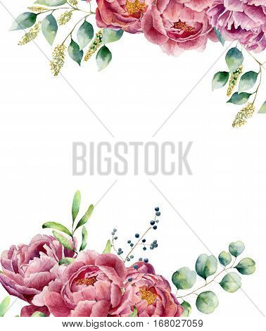 Watercolor floral card isolated on white background. Vintage style posy set with eucalyptus branches, peony, berries, greenery and leaves. Flower hand painted design.