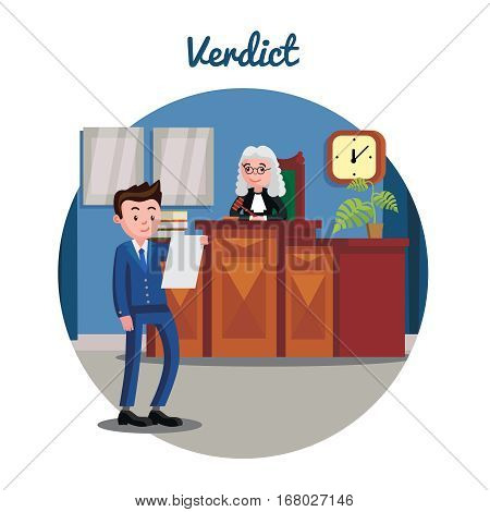 Judicial system flat template with man reading verdict of trial jury and judge holding gavel vector illustration