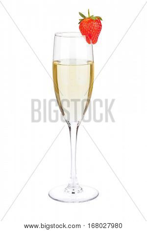 Champagne flute glass with strawberry. Isolated on white background