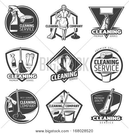 Monochrome cleaning service labels with domestic washing tools and equipment in vintage style isolated vector illustration
