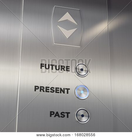 Time machine elevator panel with Present button pushed