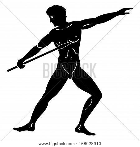 Greek style drawing. Naked men throwing a spear. Isolated blask drawing on a white background.