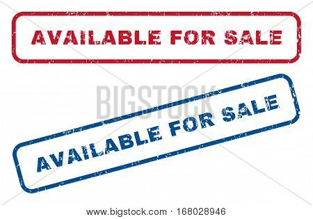 Available For Sale text rubber seal stamp watermarks. Vector style is blue and red ink caption inside rounded rectangular shape. Grunge design and dust texture. Blue and red stickers.
