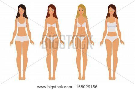 Types of woman fashion underwear. Vector set of underwear. Panties and bra