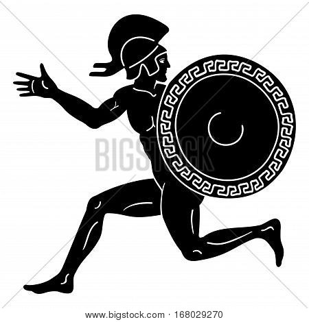 Greek style drawing. Naked running men with shield and helmet. Isolated blask drawing on a white background.