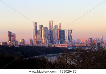 Photos landscape sunset over the winter Moscow City
