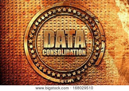 data consolidation, 3D rendering, grunge metal stamp