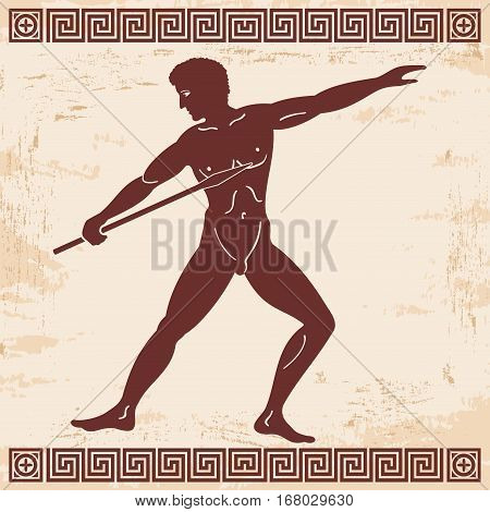 Greek style drawing. Naked men throwing a spear and national ornament.