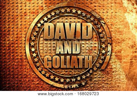 david and goliath, 3D rendering, grunge metal stamp