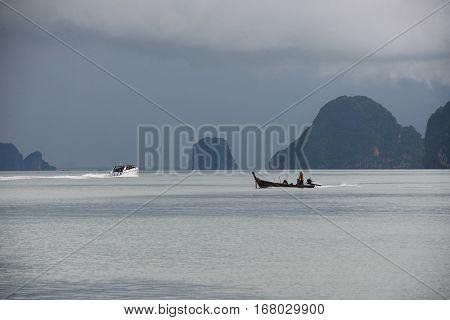 Andaman sea near Promthep Cape on Phuket island in Thailand