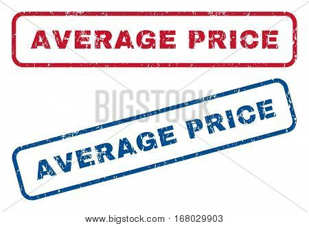 Average Price text rubber seal stamp watermarks. Vector style is blue and red ink caption inside rounded rectangular banner. Grunge design and dust texture. Blue and red emblems.
