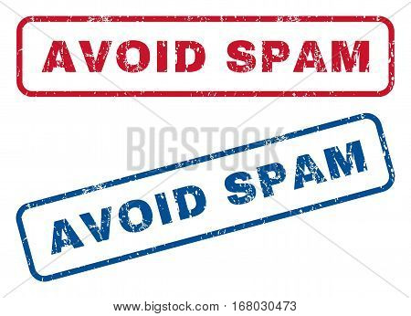 Avoid Spam text rubber seal stamp watermarks. Vector style is blue and red ink caption inside rounded rectangular banner. Grunge design and unclean texture. Blue and red stickers.