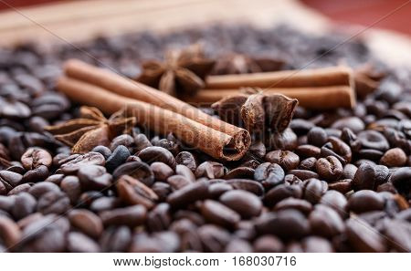 Great Aromatic Coffee Beans, Anise Spice For Sweets, Cakes, Cinnamon Sticks,  And Cloves. Different