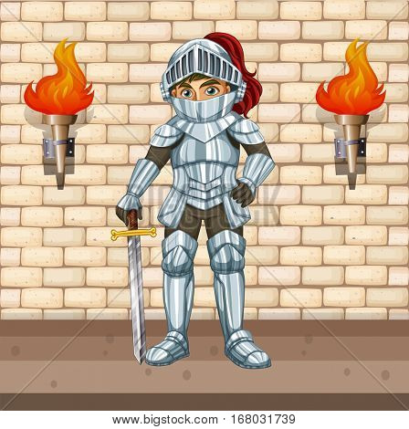 Knight in armour suit with silver sword illustration