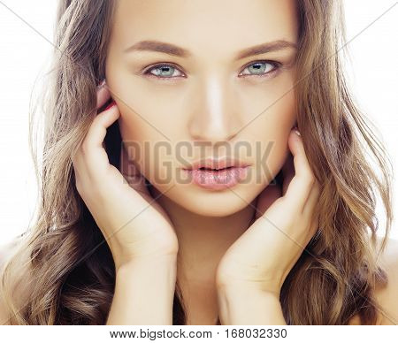 young sweet brunette woman close up isolated on white background, perfect pure innocense beautiful, spa people concept