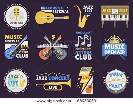 Jazz music party logo and music festival badge design. Vector concert vintage hipster sound symbol. Sticker guitar emblem musical rock illustration.