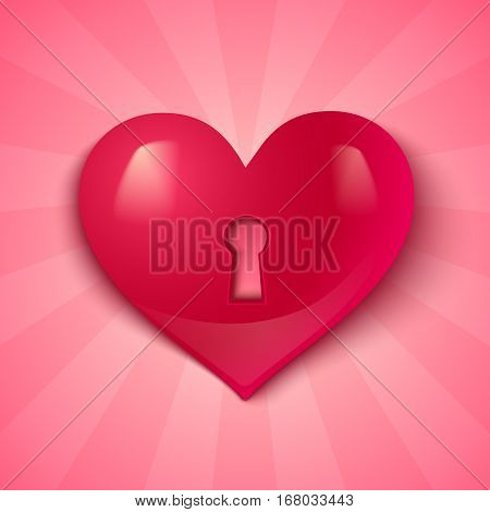 Vector heart with keyhole on pink background. Red heart for Valentine's day.