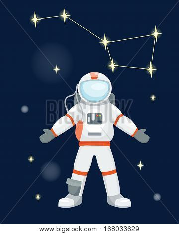 Vector astronauts in space, working and having fun. Galaxy atmosphere system fantasy traveler man. Gravity floating journey suit astronomy characters.