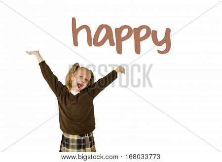 English language learning vocabulary school card of young beautiful happy female child gesturing excited and smiling cheerful rising arms isolated on white background in schoolgirl success