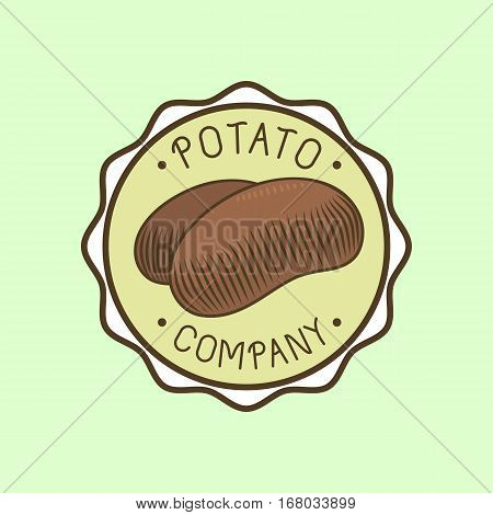 Russet potato logo vector vegetable organic food. Agriculture badge and nature vegetarian plant. Cooking autumn ingredient tuber organic carbohydrate ingredient.
