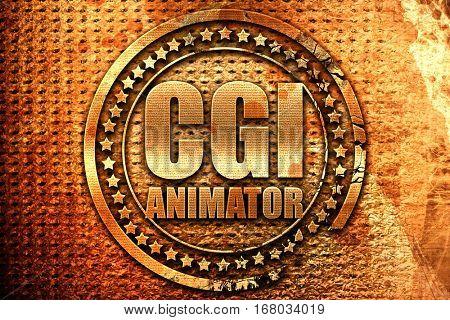 cgi animator, 3D rendering, grunge metal stamp