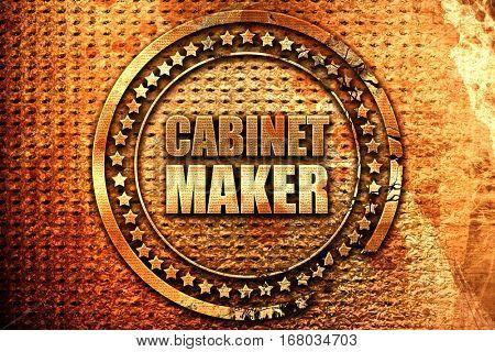 cabinet maker, 3D rendering, grunge metal stamp